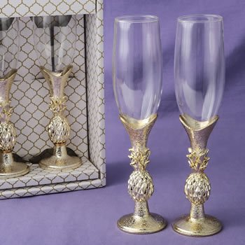 Gold Pineapple Themed Toasting Flutes Set image