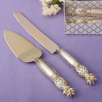 Gold Pineapple Themed Cake Knife Serving Set image