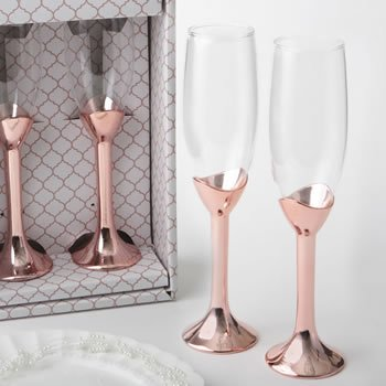 Metallic Rose Gold Toasting Flutes image