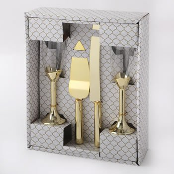 Gold 4 piece glass and server set image