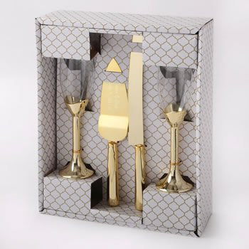 Gold 4 piece glass and engraved server set image