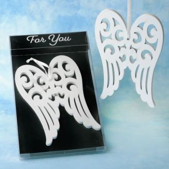 Heaven Sent White Wood Angel Wing Ornament Favor image