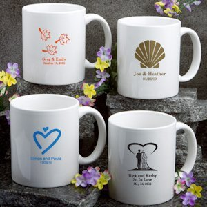 Personalized White Ceramic Wedding Mugs (50 Designs) image