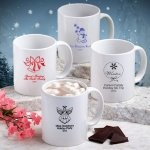 Personalized White Ceramic Mug - Holiday Designs