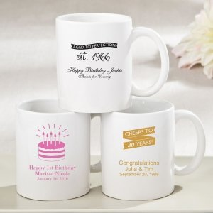 Personalized Birthday Design White Ceramic Coffee Mug Favors image