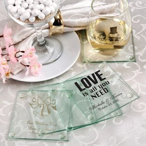 Personalized Glass Coaster Wedding Favors image