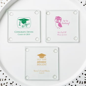 Personalized Graduation Design Stylish Glass Coasters image