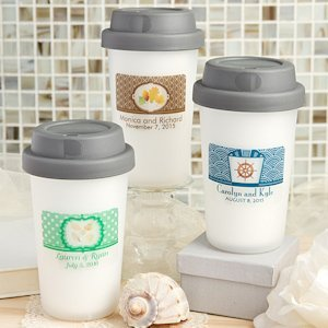 Personalized Travel Coffee Cup Wedding Favors image
