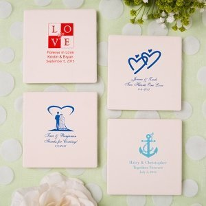 Silkscreened Ivory Glass Coaster Wedding Favors image