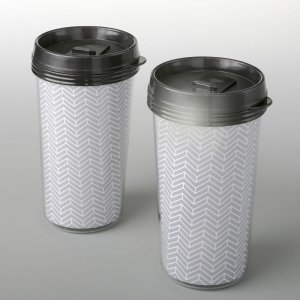 Double Wall Insulated Coffee Cup With Silver Chevron Design image