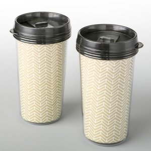 Double Wall Insulated Coffee Cup With Gold Chevron Design image