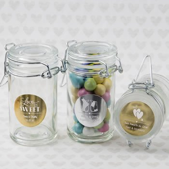 Personalized Metallics Wedding Apothecary Jar Favor image
