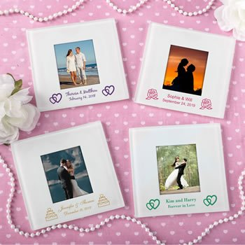 Personalized Wedding Expressions Glass Photo Coaster image