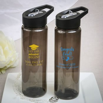 Graduation Design Personalized Black Translucent Water Bottl image