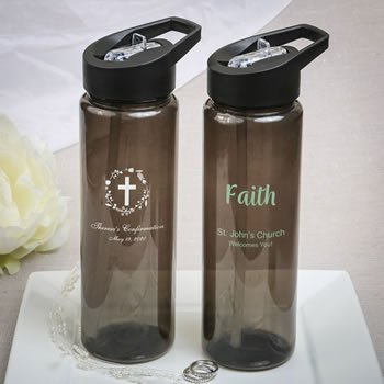 Religious Event Personalized Black Translucent Water Bottle image