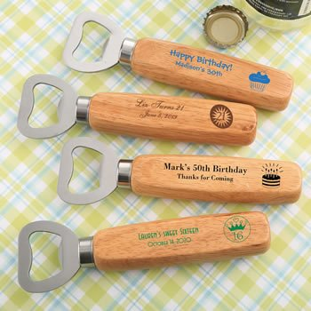 DIY Birthday Designs Wood Handle Bottle Opener Favors image