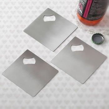 Perfectly Plain Stainless Steel Coaster and Bottle Opener image