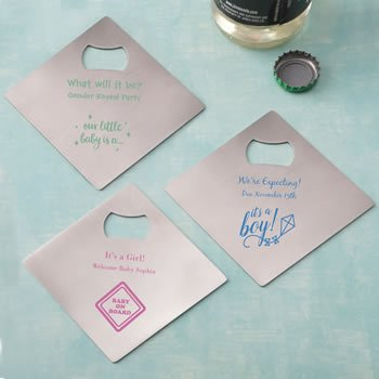 Design Your Own Baby Shower Coaster Bottle Opener Favor image