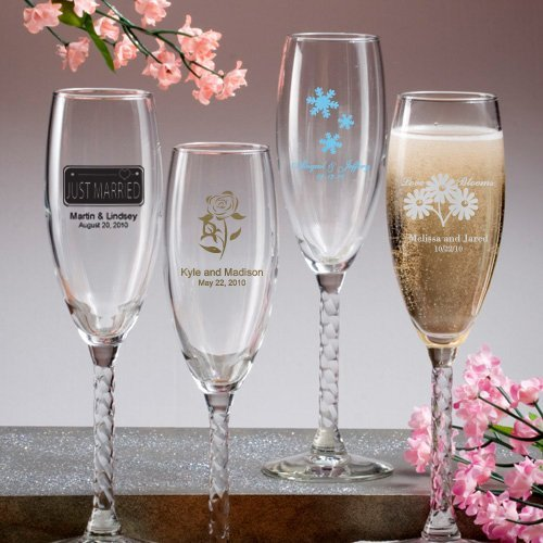 Bridal Party Wedding Gifts: Twisted Stem Champagne Flutes Wedding Favors (50 Designs