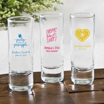 Personalized Tropical Design Fun 2 Oz Shooter Glasses image