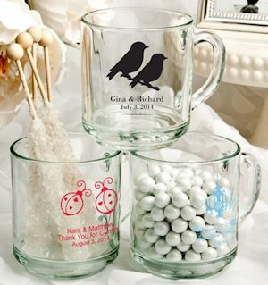 Personalized Glass Wedding Favor Mugs (50 Designs) image
