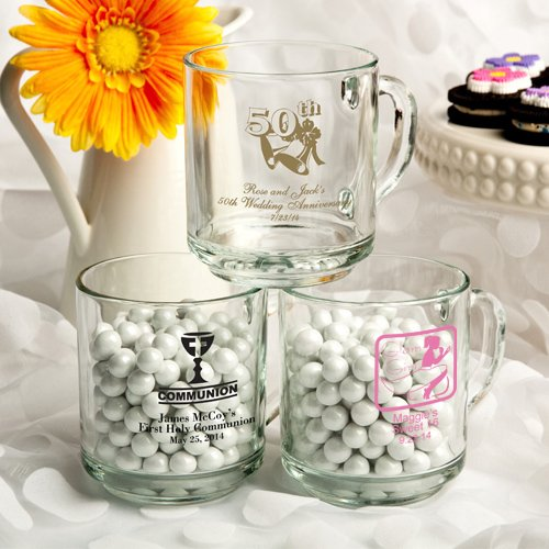 Average Price Of Wedding Gift: Personalized Glass Wedding Favor Mugs (50 Designs
