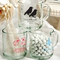 Personalized Glass Wedding Favor Mugs (50 Designs)