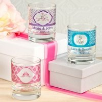 Personalized Round Shot Glass/Votive Candle Holder