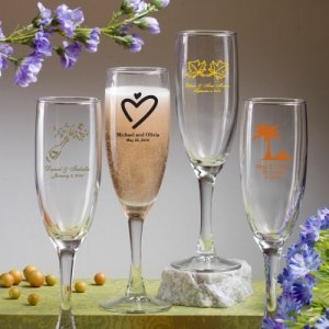 Personalized Champagne Glass Wedding Favors (50 Designs) image