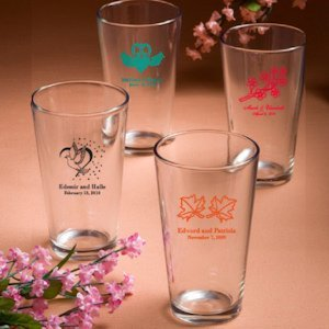 Personalized Wedding Glasses - 16 oz Drink (50 Designs) image