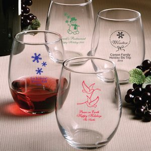 Custom Stemless Wine Glasses - Holiday Designs image