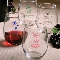 Custom Stemless Wine Glasses - Holiday Designs