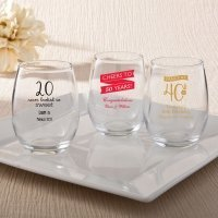 Personalized Birthday Design 9 oz Stemless Wine Glasses