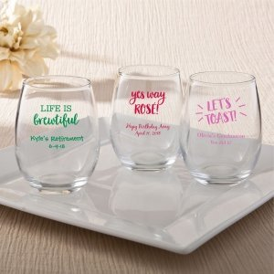 Personalized Celebration Design 9 Oz Stemless Wine Glasses image