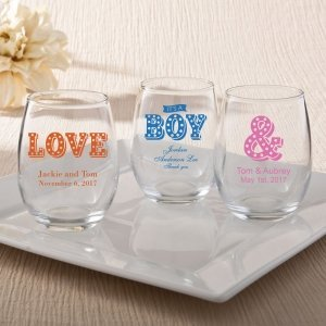 Personalized Marquee Design 9oz Stemless Wine Glasses image