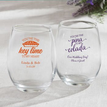 Personalized Tropical Design 9 oz Stemless Wine Glasses image