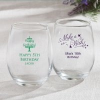 Personalized Birthday Design 15oz Stemless Wine Glasses