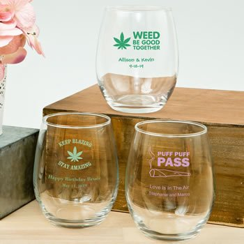 Personalized Cannabis Design 15oz Stemless Wine Glasses image