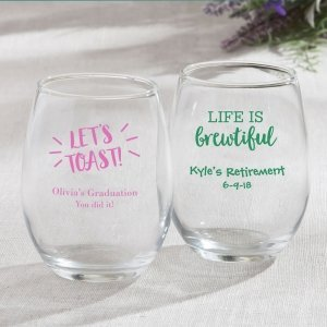 Personalized Celebration Design 15oz Stemless Wine Glasses image