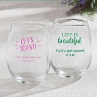 Personalized Celebration Design 15oz Stemless Wine Glasses