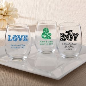 Personalized Marquee Design 15oz Stemless Wine Glasses image