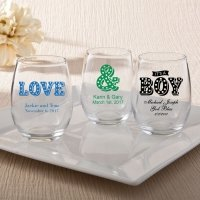 Personalized Marquee Design 15oz Stemless Wine Glasses