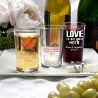 Silkscreened Wedding Glassware Collection Bistro Glasses