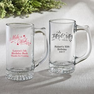Personalized Birthday Design Glass Beer Mug Favors image