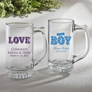 Personalized Marquee Design Glass Beer Mug Favors image