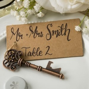 Copper Skeleton Key Bottle Opener with Place Card Tag image
