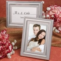 Matte Silver Beaded Place Card Picture Frames