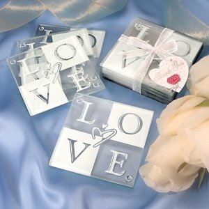 Glass Love Coaster Set in Gift Box image