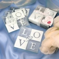Glass Love Coaster Set in Gift Box