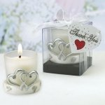 Glass Candle Holder with Double Heart Base Design